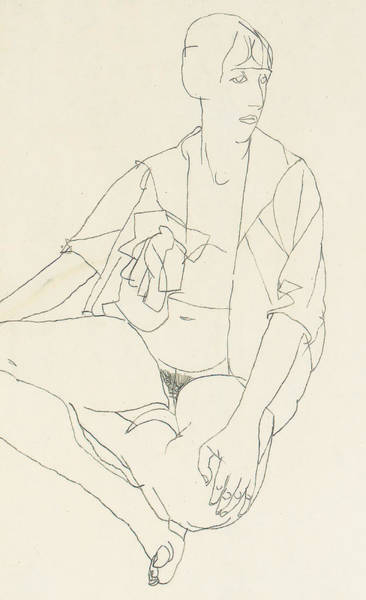 Sensual Drawing - Seated Female Nude With Open Blouse by Egon Schiele