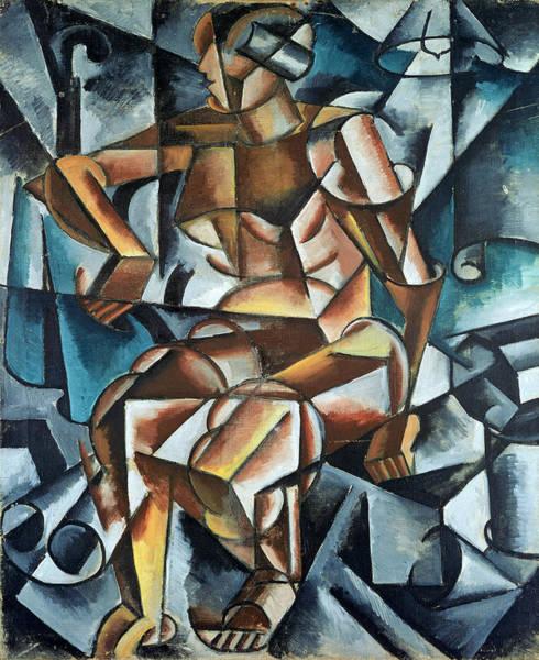 Cubist Wall Art - Painting - Seated Figure, 1914-15 by Lyubov Sergeevna Popova