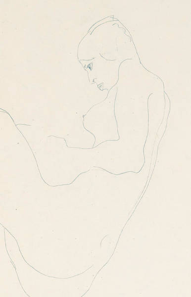 Beautiful Girl Drawing - Seated Nude by Egon Schiele