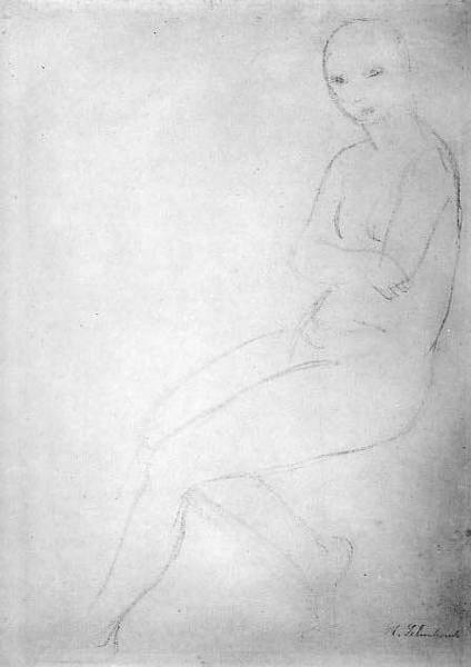 Oil Pastels Drawing - Seated Nude Model, Facing Left by Wilhelm Lehmbruck