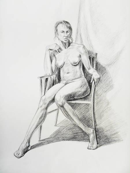 Wall Art - Drawing - Seated Nude Model Study by Irina Sztukowski