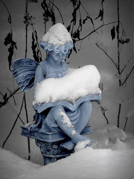 Photograph - Seated Snow Covered Angel Statue Reading A Book by Randall Nyhof