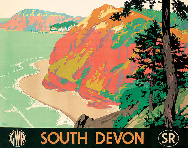 Vintage Train Painting - Seaton In Devon by Kenneth Shoesmith