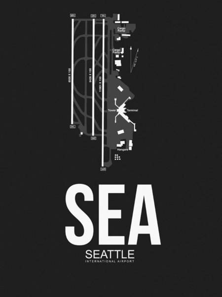 Seattle Digital Art - Seattle Airport Poster 1 by Naxart Studio