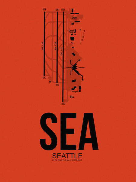 Seattle Digital Art - Seattle Airport Poster 2 by Naxart Studio