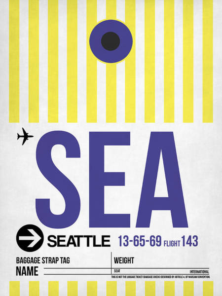 Seattle Digital Art - Seattle Airport Poster 3 by Naxart Studio