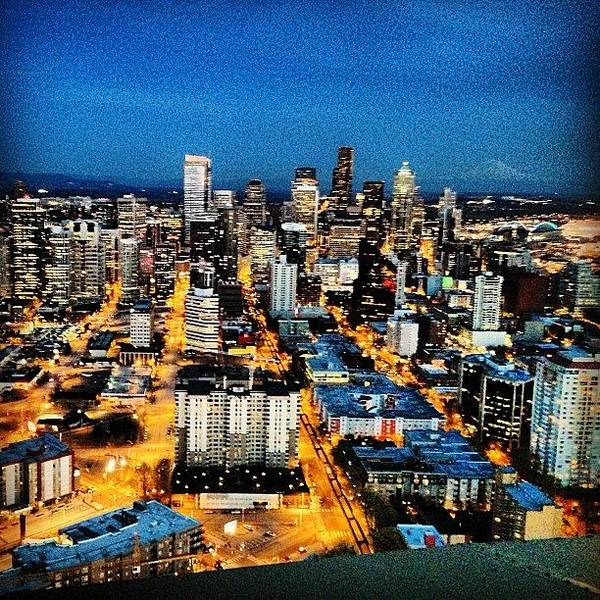 Seattle At Night From The Top Of The Art Print