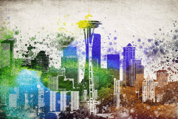 Wall Art - Digital Art - Seattle City Skyline by Aged Pixel