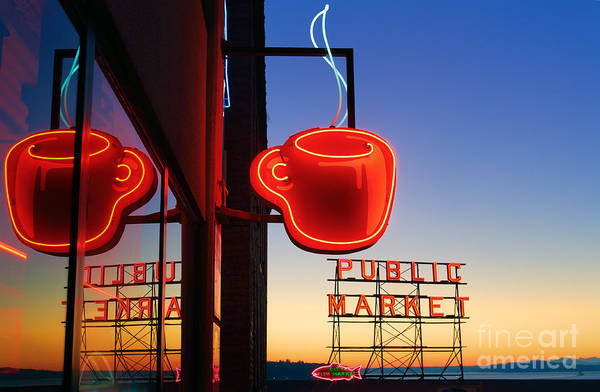 Market Place Photograph - Seattle Coffee by Inge Johnsson