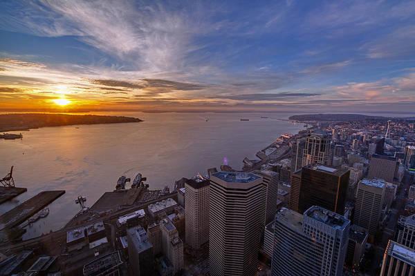 Elliott Photograph - Seattle Elliott Bay Sunset by Mike Reid