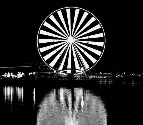 Wall Art - Photograph - Seattle Great Wheel Black And White by Benjamin Yeager