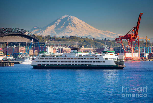 Mount Rainier Photograph - Seattle Harbor by Inge Johnsson