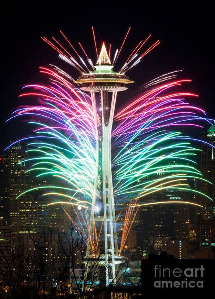 Space Needle Wall Art - Photograph - Seattle New Year by Inge Johnsson