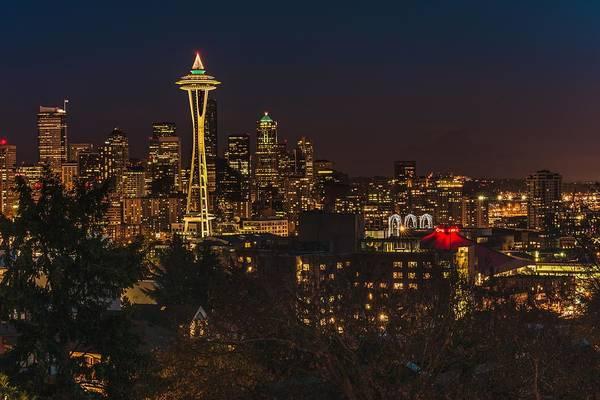 Photograph - Seattle Night Lights by Gene Garnace