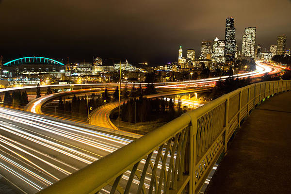 Photograph - Seattle Night Lilghts by Ryan Smith