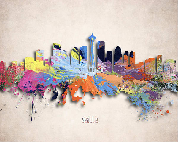 Wall Art - Digital Art - Seattle Painted City Skyline by World Art Prints And Designs