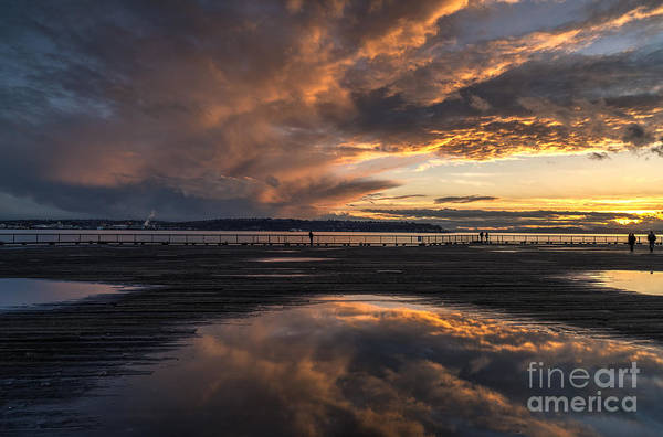 Elliot Bay Wall Art - Photograph - Seattle Pier Sunset Finish by Mike Reid