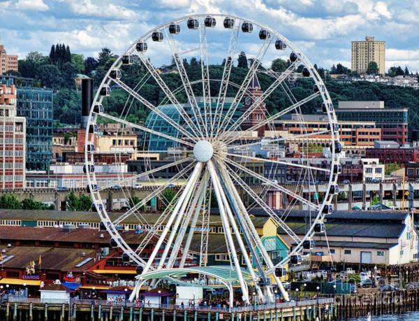 Seattle Port Ferris Wheel Art Print