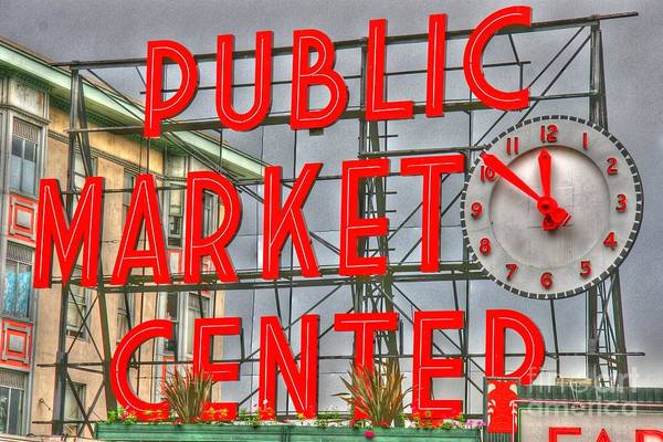 Photograph - Seattle Public Market Center Clock Sign by Tap On Photo