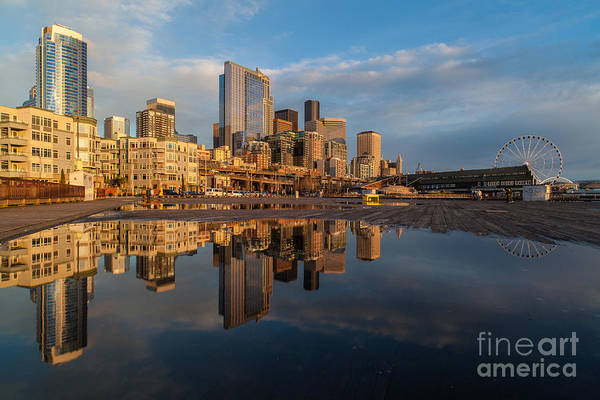 Puget Sound Photograph - Seattle Reflection Golden Light by Mike Reid