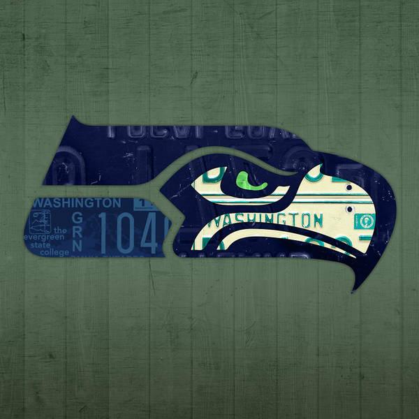 Seattle Seahawks Wall Art - Mixed Media - Seattle Seahawks Football Team Retro Logo Washington State License Plate Art by Design Turnpike