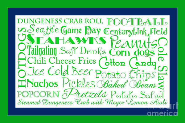 Digital Art - Seattle Seahawks Game Day Food 2 by Andee Design