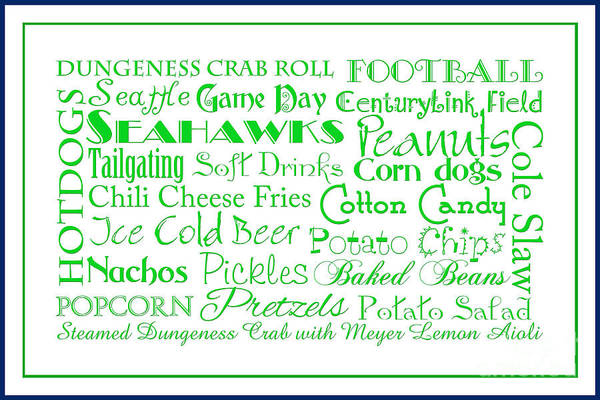 Digital Art - Seattle Seahawks Game Day Food 3 by Andee Design