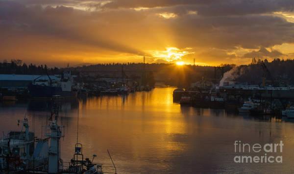 Ballard Wall Art - Photograph - Seattle Ship Canal Sunstar Morning by Mike Reid