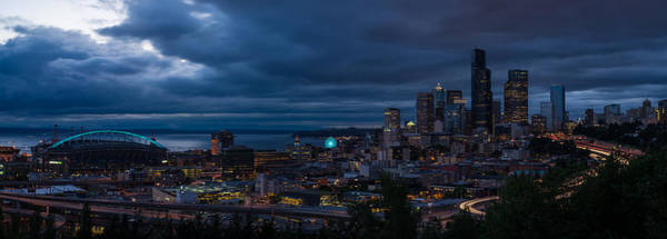 Puget Sound Photograph - Seattle Skyline Drama Panorama by Mike Reid