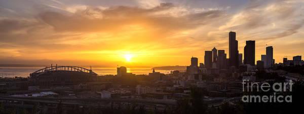 Pike Place Photograph - Seattle Skyline Dusk Sun by Mike Reid