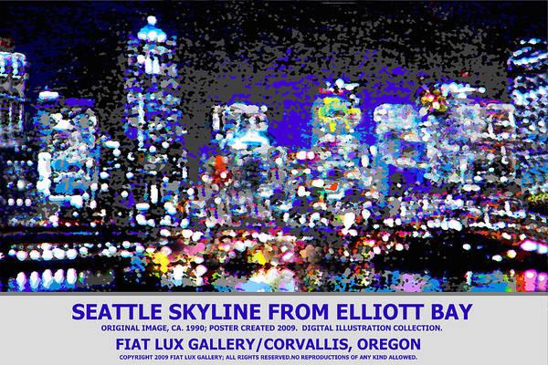 Elliott Digital Art - Seattle Skyline II by Michael Moore