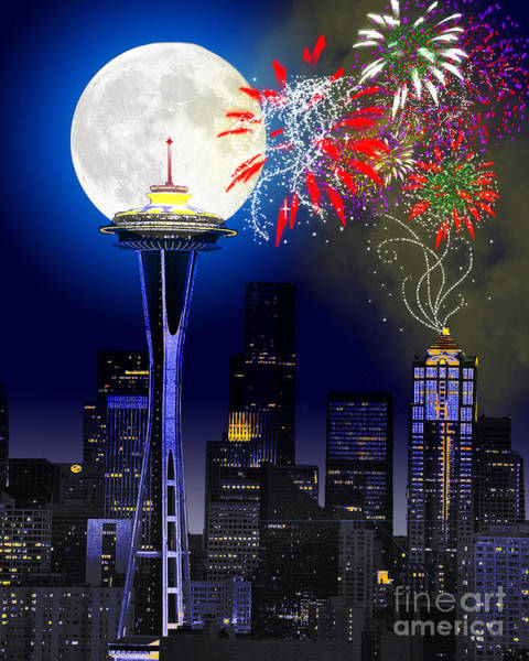 Full Moon Night Painting - Seattle Skyline by Methune Hively