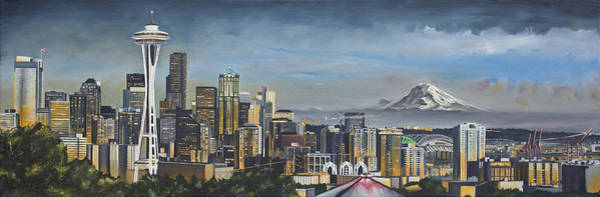 Arena Painting - Seattle Skyline by Nick Buchanan