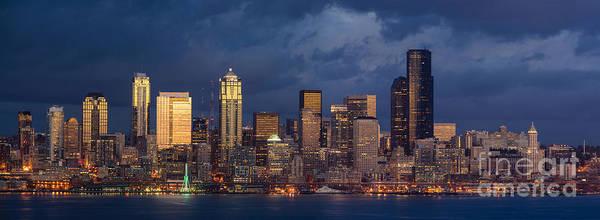 Elliott Photograph - Seattle Skyline Sunset Detail by Mike Reid