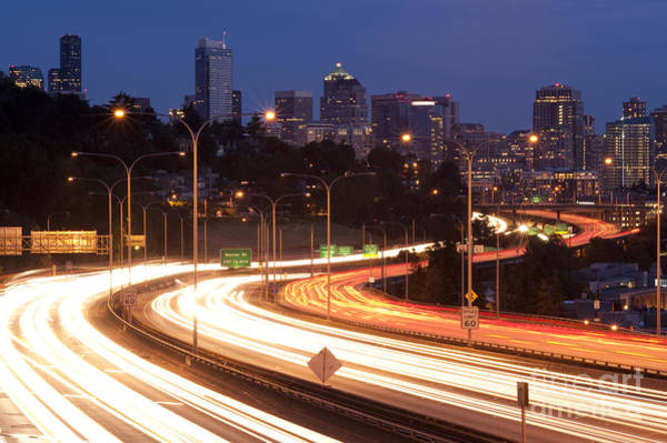 Interstate 5 Wall Art - Photograph - Seattle Skyline With Freeway Traffic by Jim Corwin