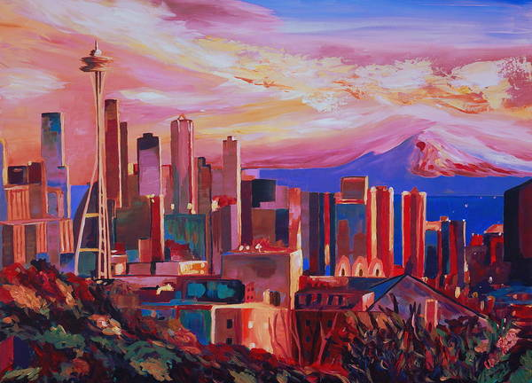 Spectacular Painting - Seattle Skyline With Space Needle And Mt Rainier by M Bleichner
