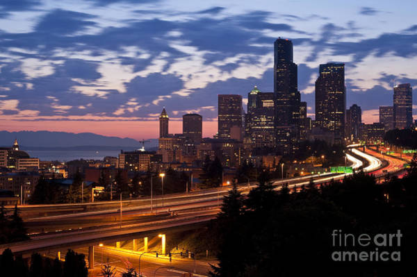 Interstate 5 Wall Art - Photograph - Seattle Skyline With Sunset by Jim Corwin