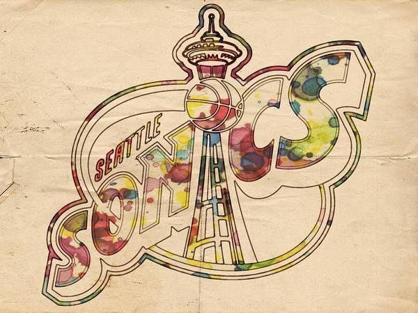 Painting - Seattle Sonics Retro Poster by Florian Rodarte