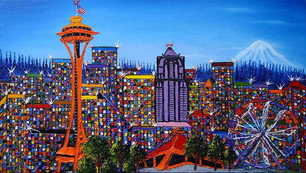 Wall Art - Painting - Seattle Space Needle #6 by Dunbar's Modern Art