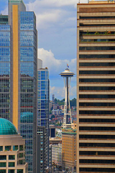Gay Pride Flag Photograph - Seattle Space Needle by Brad Walters