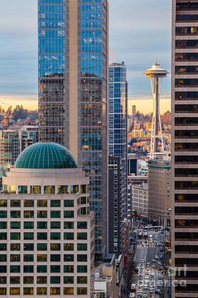 Elliott Photograph - Seattle Space Needle Golden Sunset Light by Mike Reid