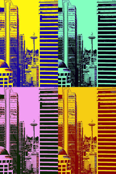 Gay Pride Flag Photograph - Seattle Space Needle Tile by Brad Walters
