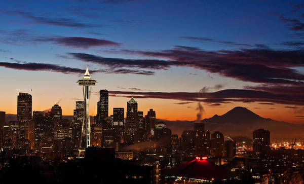 Mount Rainier Photograph - Seattle Sunrise by Mike Reid