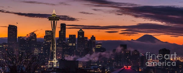 Mount Rainier Photograph - Seattle Sunrise Purples by Mike Reid