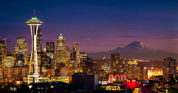 Mount Rainier Photograph - Seattle Sunset by Alexis Birkill
