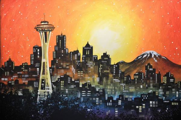 Needles Painting - Seattle Sunset by Amy Giacomelli