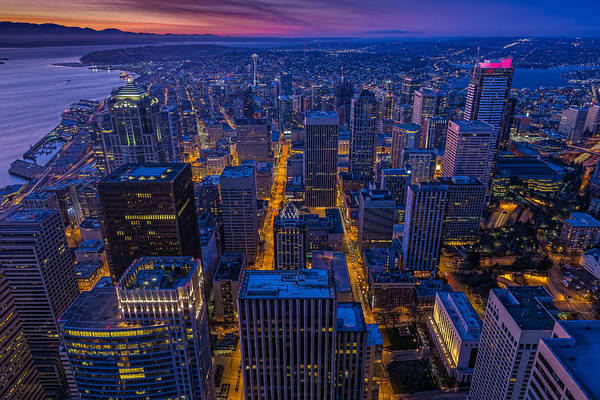 Photograph - Seattle Sunset by Thomas Hall