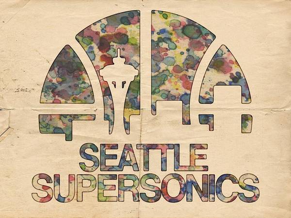 Wall Art - Painting - Seattle Supersonics Poster Vintage by Florian Rodarte