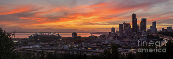 Pikes Place Wall Art - Photograph - Seattle Under Fiery Skies by Mike Reid