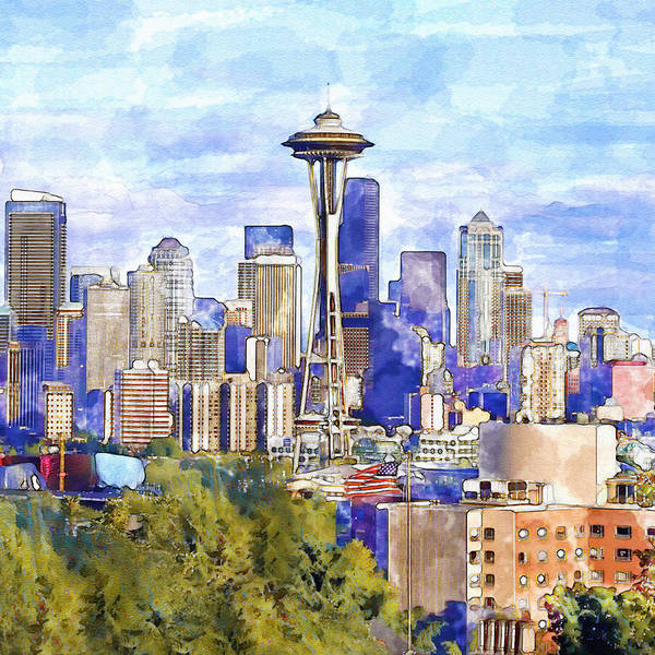 Tall Buildings Painting - Seattle View In Watercolor by Marian Voicu